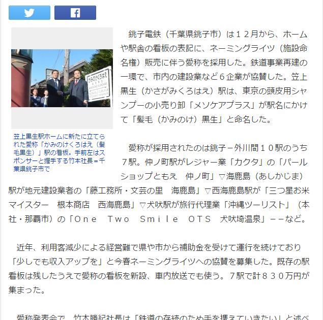 <命名権>駅名「かみのけくろはえ」 銚子電鉄が7駅で愛称 (毎日新聞) Yahoo ニュース